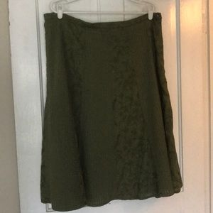 CHICO's Womens skirt XL green embroidery